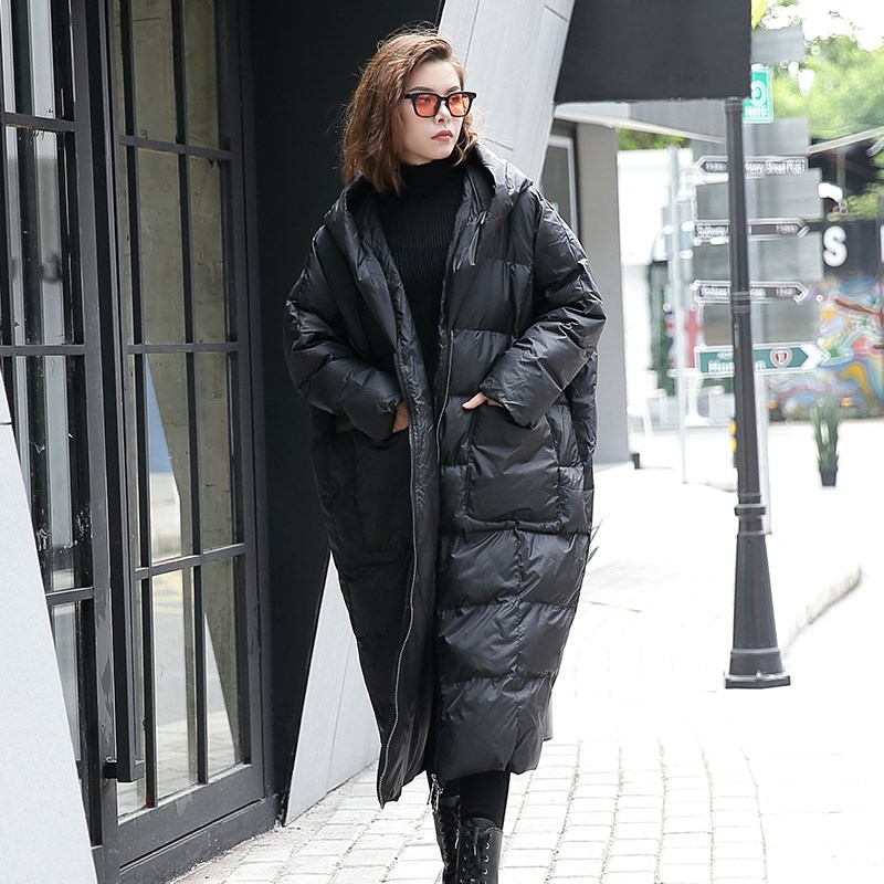 New Autumn Winter Hooded Long Sleeve Solid Color Black Cotton-padded Loose Big Size Jacke Women Fashion Tide Long Parkas Coats цена и фото