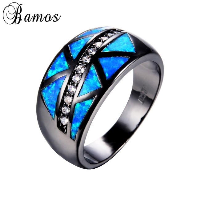 47b9a2c9ad Bamos Ocean Blue Fire Opal Rings For Female Male Black Gold Filled Wedding  Party Engagemen Zircon Cocktail Ring Anillos RB1008