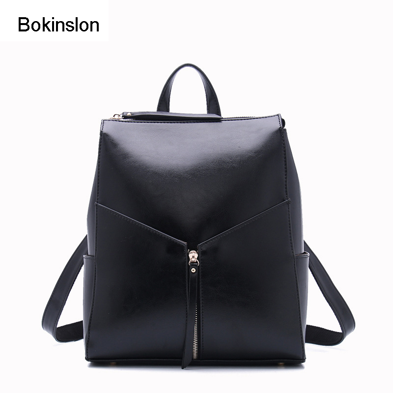 Bokinslon Bag Backpack Women Casual Popular Cow Split Leathe Womens Brand Backpack Fashion All Match Girls