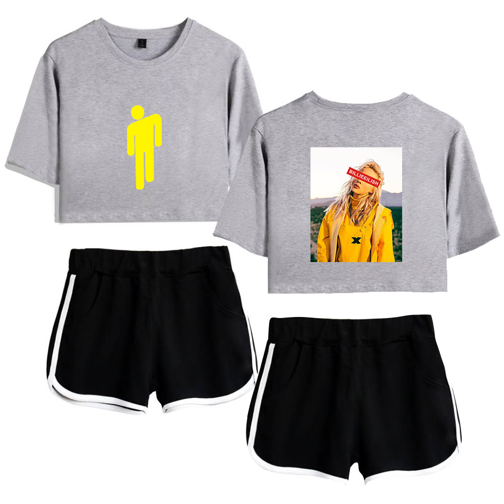 Hot Sale Women's Singer Billie Eilish Gray Short Exposed Navel T Shirt+black Short Pants Fashion Women's Billie Eilish Two-piece