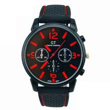 Mens Watches Fashion Casual Rubber Stainless Steel Sport Cool Quartz Hours Pin Buckle Rubber Wrist Analog Watch Red zegarek