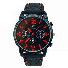 cdb9fb0cc1b55 رجل الساعات الأزياء عارضة المطاط الفولاذ المقاوم للصدأ الرياضة بارد  الكوارتز ساعة دبوس مشبك المطاط المعصم التناظرية ووتش الأحمر .