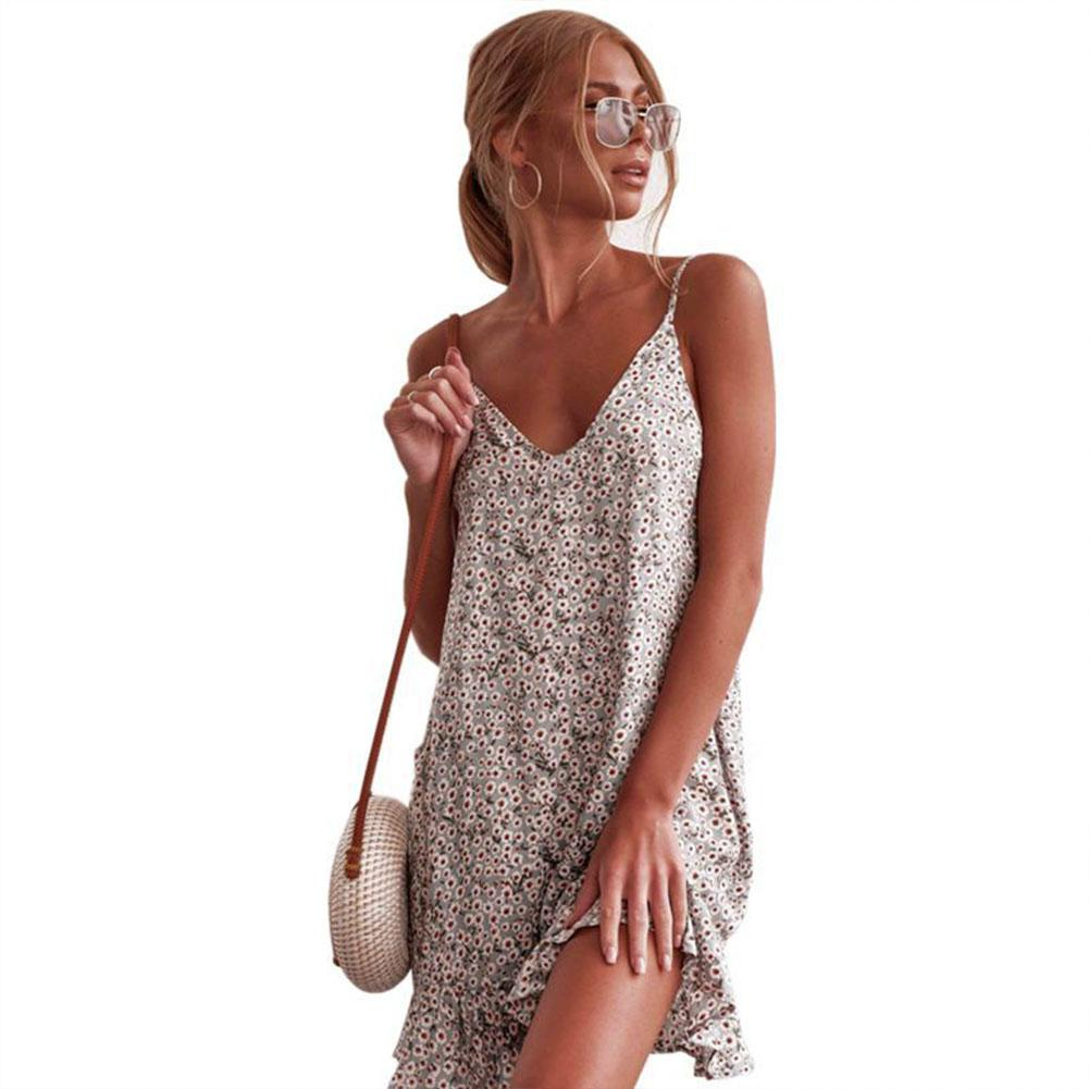 2019 New Women Strap Floral Printing Sling Sexy Dress for Beach Vacation Travel image