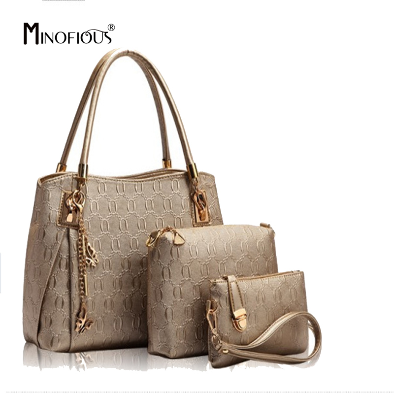 MINOFIOUS Solid Composite Bag 3 Piece Set Tote Bags Brand Women Soft PU Leather Handbags Fashion Casual Simple Shoulder Bag мужские часы pierre ricaud p91082 b114q