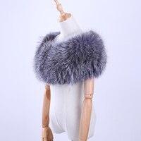 Luxury Genuine Real Fox Fur Striped Hand Sew Elastic Plus Size Women S Scarf Cape Pashmina