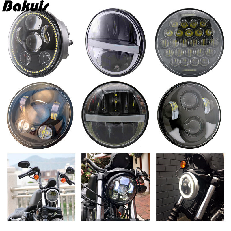 For Harleys Light 5 3/4 Black LED Motor Headlight with White Amber Halo Ring for Harley 883 Victory Gunner Triumph Indian Scout