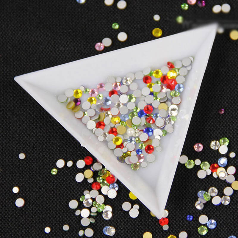 New Nail Art Decorations Acrylic Plate Case Storage 5 Plastic Round Triangle Diy Rhinestones Tray Container Manicure Tool Gift 7 inch black round plastic rotary plate turnplate clay pottery sculpture tool