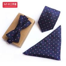 Мужской цветочный галстук-бабочка и галстук жаккардовые шелковые носовые платки набор для мужчин формальные свадебные деловые