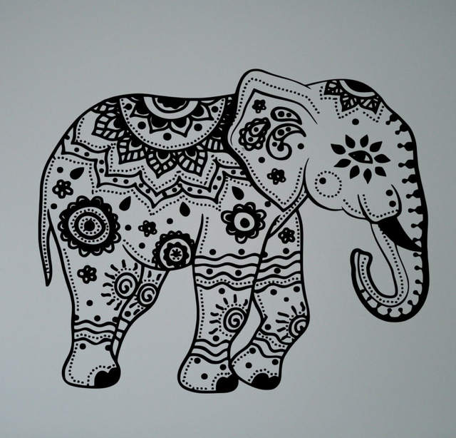Asian Elephant Vinyl Decal Mehndi Yoga Namaste Patterns Wall Sticker Home  Interior Ethnic Indian Ornament Culture