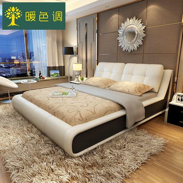 Mobili camera da letto set in pelle moderno stoccaggio telaio del ...