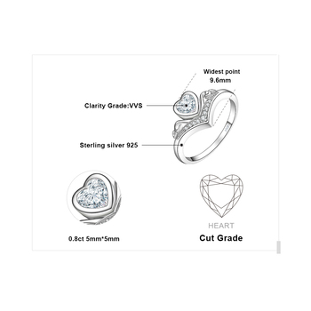 JewelryPalace Heart Princess Crown Channel Set  Cubic Zirconia Promise Wedding Engagement Ring 925 Sterling Silver 4