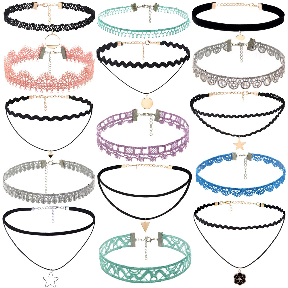 Fashion Girl Necklace 15Pieces Choker Necklace Set Stretch Velvet Classic Gothic Tattoo Lace Choker Collier de mode J.10 2018 summer girls teens party dress petal sleeve o neck children kids dress for girl 12 years old lace net yarn princess dresses