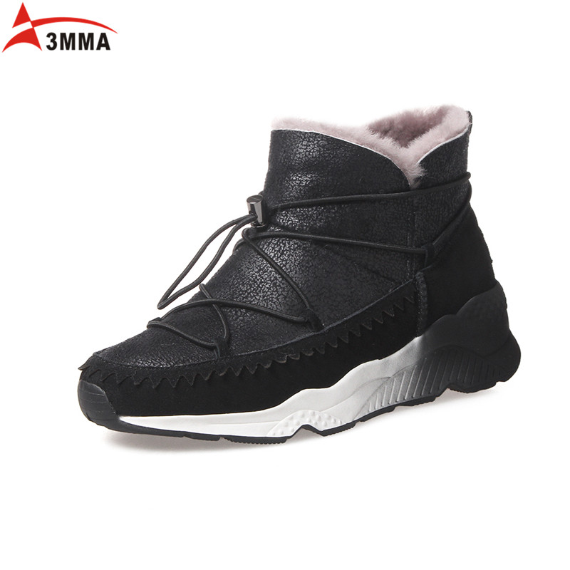 ФОТО 3MMA 2016 Warm Genuine Leather Sheepskin Fur Snow Boots Women Winter Boots Casual Ankle Boots for Women Keep Warm Soft Shoes