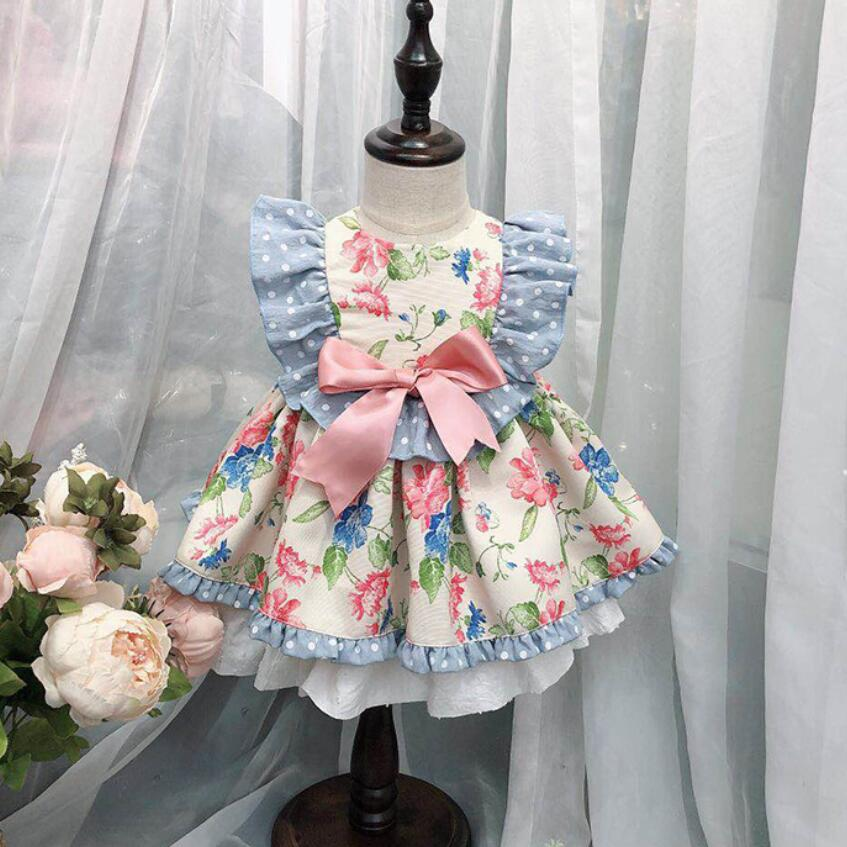 2019 Kids Boutique Floral Dress for Girls Children Spanish Palace Baby Birthday Retro 1st Birthday Dress
