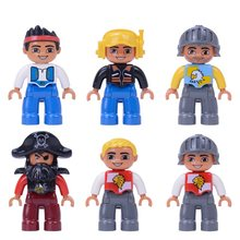 Single Sale Big Size Pirate soldier Pilot Building Blocks Character Compatible With Legoingly Duplo Figures Toys For Baby Kids(China)