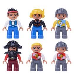 Одна Распродажа Большой размеры пиратский солдат пилот строительные блоки характер совместим с Legoingly Duplo Цифры Игрушки для маленьких детей