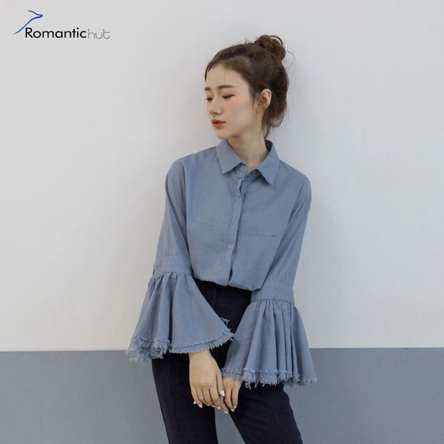 7986f5dc4f4c2 Exclusive Double-layer Large Cuffs Cotton Shirt Korea Ruffles Sleeve Blouse  Shirt Women Tops 2017 Casual Blouses Spring Blusas