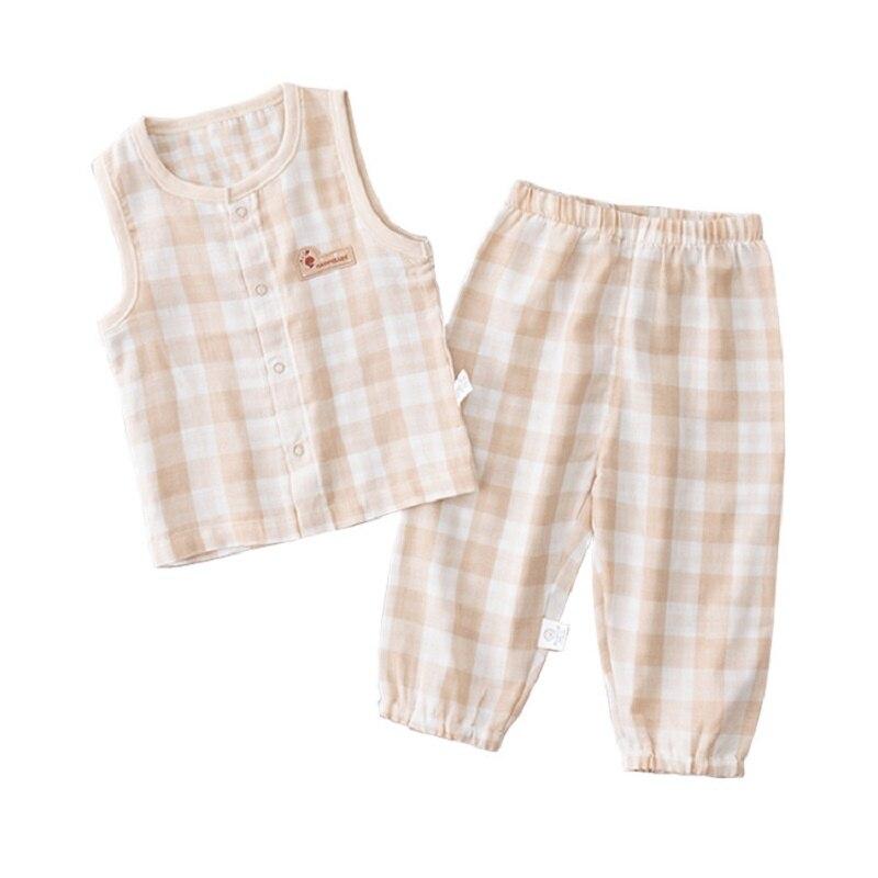 Babys Organic Cotton Gauze Baby Girl Boy Clothes For Newborn summer baby clothing set tops pant halloween christmas boys garment