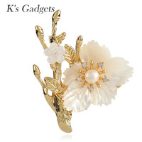 Natural Shell Big Flowers Safety Pin Brooch Gold Color Tree Design Fashion Imitation Pearls Large Brooches