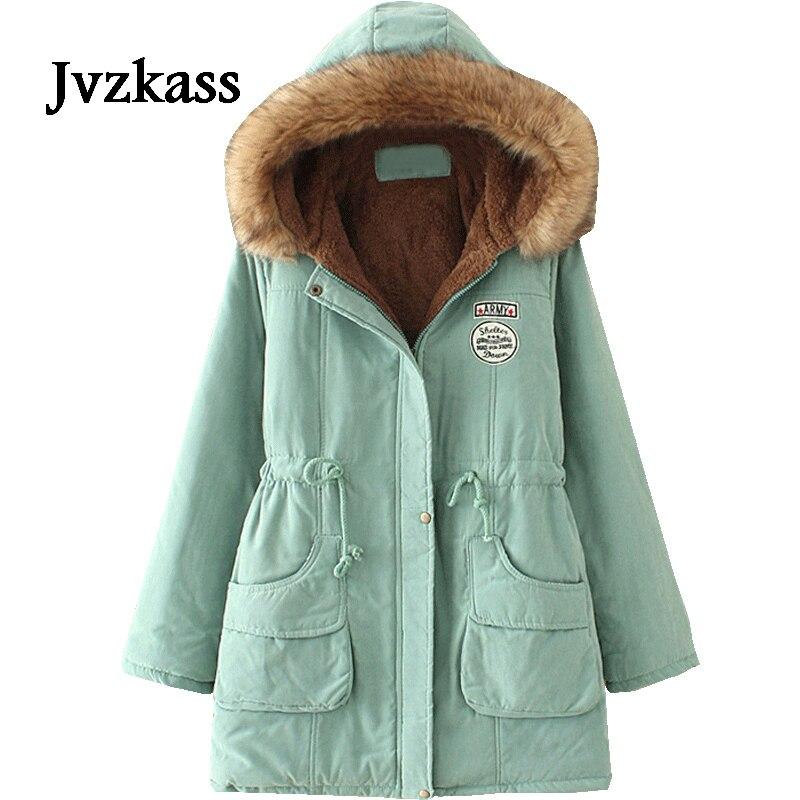 Jvzkass 2019 Новое Женское пальто большого размера плюс с капюшоном в длинном разрезе свободный плюс толстый зимний хлопковый костюм для женщин Z48