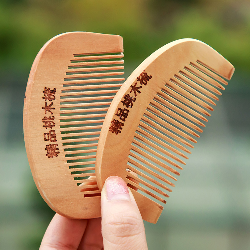 TI43 Thick mahogany comb comb tooth massage prevention anti-static boutique round wood comb c62 anti static peach wood comb sandalwood wide tooth comb hair comb