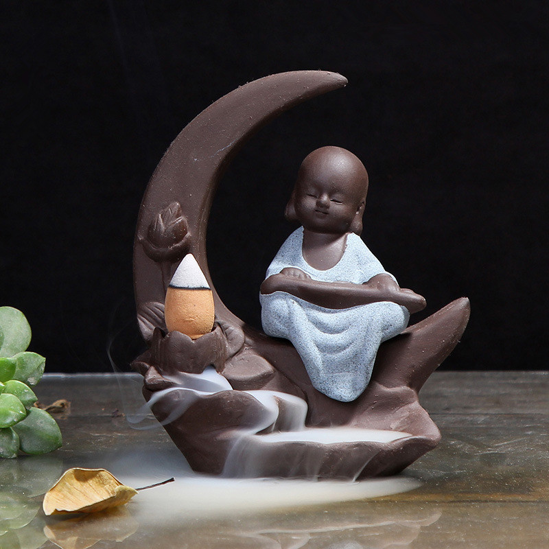 Creative Home Decoration Buddhist Incense Burner Small Buddha Ceramic Censer Little Monk Backflow Incense Holder Ceramic Craft