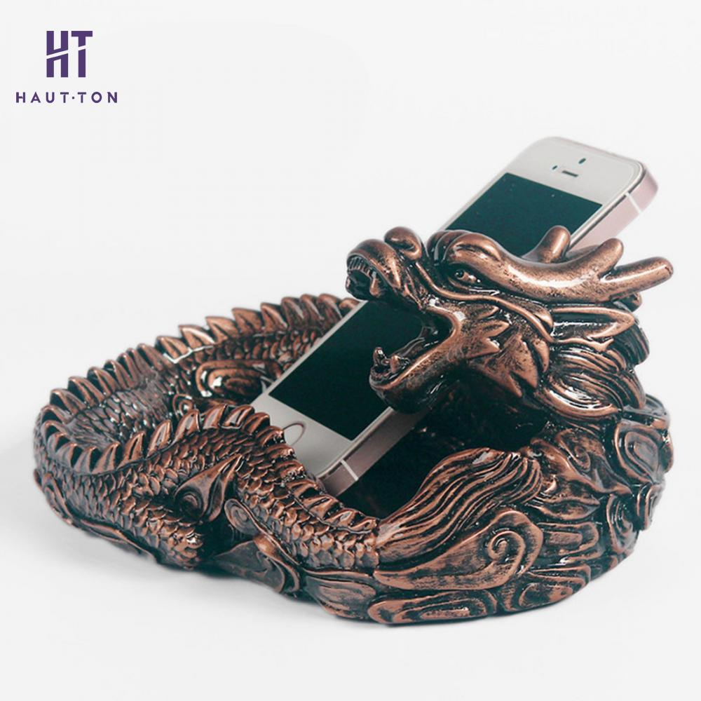 China Style Creative Dragon Ashtrays Smoking Cigarette Holder Resin Crafts Personal Office Supplies Home Decor in Ashtrays from Home Garden
