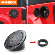SHINEKA Fuel Tank Cover Gas Door Cover with Ring Oil Tank Cap Fit for 2 & 4 Doors Jeep Wrangler JK
