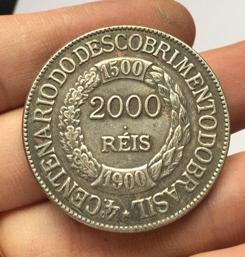 1900 БРАЗИЛИЯ 2000 Reis Монеты Скопируйте Бесплатная доставка 37 мм