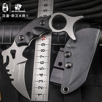 HX OUTDOORS Karambit Fixed Blade Knife 440C Titanium Coated Blade K10 Handle Defense Knives Camping Cold