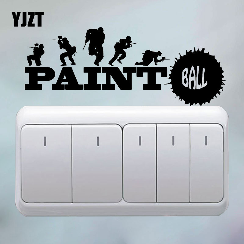 YJZT Paintball Sports Game Teen Room Art Light Switch Girl Room Home Decoration Sticker 8SS2210