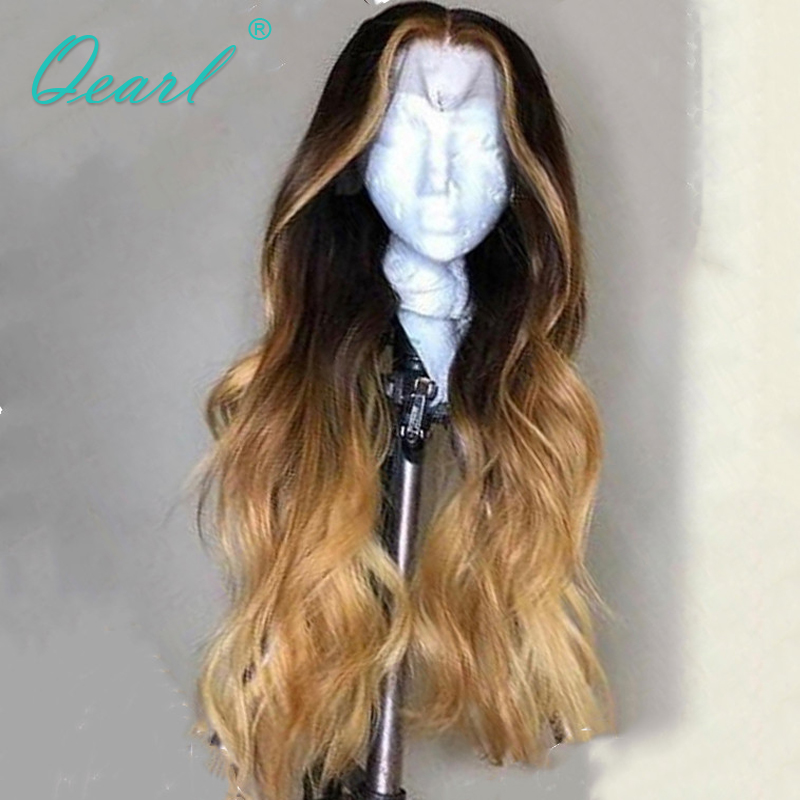 Ombre Colored Human Hair Wig Lace Front Wigs Pre plucked with Baby Hairs Remy Wavy Hair