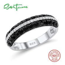 SANTUZZA Silver Ring For Women Pure 925 Sterling Silver Shiny Black Spinels White Cubic Zirconia Trendy Party Fine Jewelry cheap 925 Sterling CN(Origin) GDTC Prong Setting Rings R306865BSNZSK925 ROUND Wedding Bands Rings Silver 925 Metal Rings Women Rings