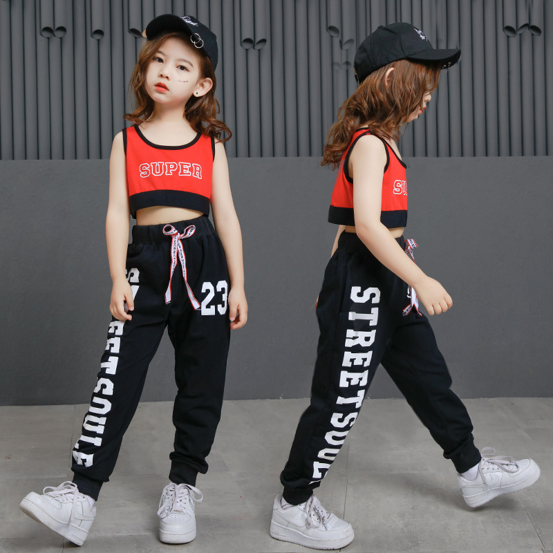 Kids Cool Gym Vest Tank Tops Crop Casual Pants Hip Hop Clothing For Girls Dance Clothes Ballroom Jazz Dancing Costumes Set Wear