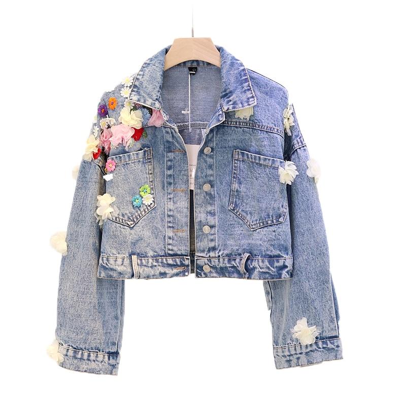 Hot Sale 3D Flower Denim   Jacket   Autumn Women Coats Lapel Single Breasted Fashion   Basic     Jacket   For Women Winter Ladies   Jackets