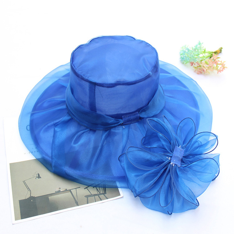 [AETRENDS] 2018 New Vintage Elegant Lapisan Ganda Organza Sun Topi - Aksesori pakaian - Foto 4