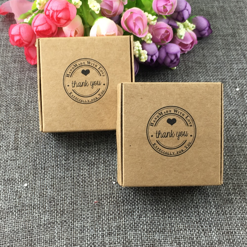 Gift Bags & Wrapping Supplies Festive & Party Supplies 50pcs/lot 6.5*6.5*3 Thank Kraft Paper Aircraft Boxes With For Candy Handmade Soap Jewelry Gift Packaging