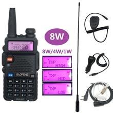 BAOFENG UV-5R 8 Вт рация 10 км радиостанция двухдиапазонный УКВ УВЧ HF любительский радиоприемник UV5R 8 Walky PMR446 скремблер