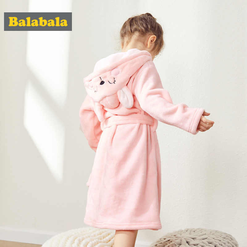 Balabala Girl Critter Ear Hooded Flanel Fleece-Lined Robe with Pocket Wrap Silouette for Kid Toddler Girl Embroidery at Hood