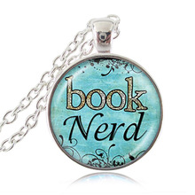 Book Nerd Necklace Quotes Pendant Blue Glass Cabochon Art Print Jewelry Charm Gifts for Her Book Lover Teacher Librarian HZ1