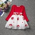 Moda red white polka dot de manga larga bebé vestido de cumpleaños para niñas bebés de navidad 1 año