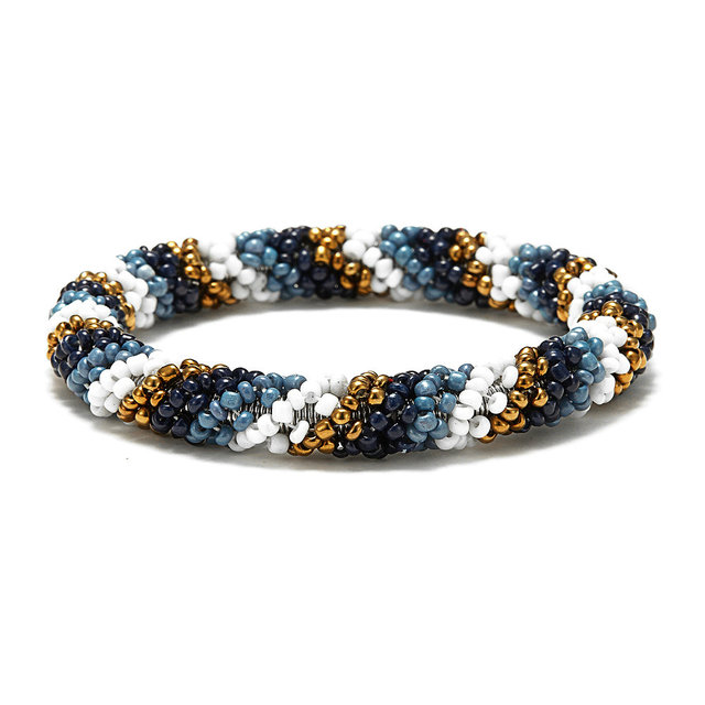 Tianbo Nepal Handmade Bead Bracelet Hippy Friendship Por Roll Crochet Woven Seed Beads Stripes Pattern Bracelets