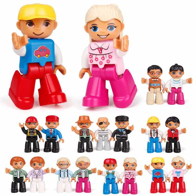 Legoing Duplo Figures Family Police Dady Mommy Grandpa Grandma Big Size Building Blocks Toy for Children Compatible Duplo Figure
