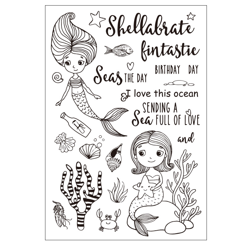 Cartoon Mermaid Transparent Clear Silicone Stamp/seal for DIY Scrapbooking/photo Album Decorative Clear Stamp Sheets lovely animals and ballon design transparent clear silicone stamp for diy scrapbooking photo album clear stamp cl 278