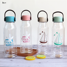 BXLYY New Transparent Plastic Student Water Bottle 600ml Portable Wate