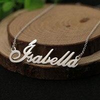 Name Halskette Personalisierte 925 Solide Silber Benutzerdefinierte Halskette Typenschild Anhänger Französisch S