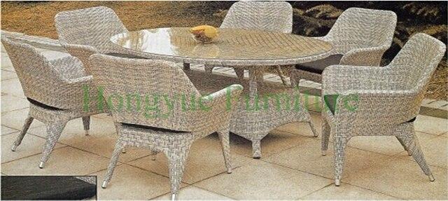 Плетеные столовые группы, Из ротанга обеденный стол и стулья для дома