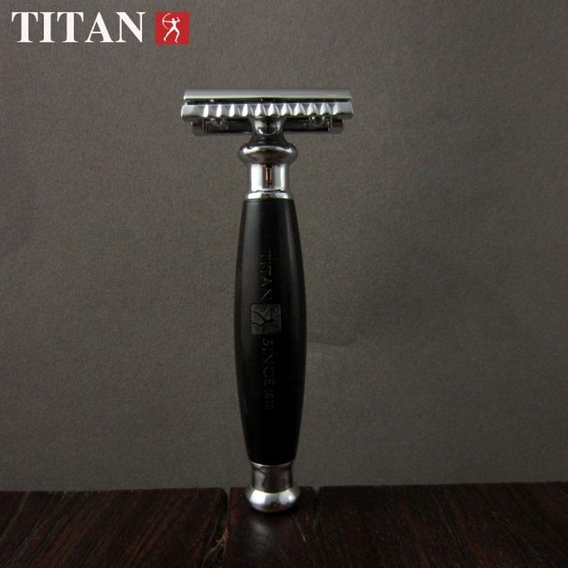 Titan dobbeltkantsikkerhed razor træhåndtag med rustfrit stål del - Barbering og hårfjerning - Foto 2