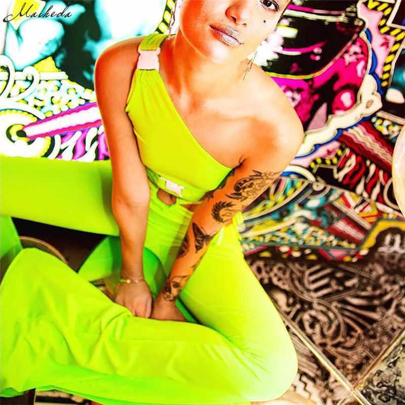 Macheda الأزياء واحدة الكتف سترة المرأة أكمام ارتداء البرية الفلورسنت الصلبة اقتصاص تصميم بلوزة الخريف 2018 جديد