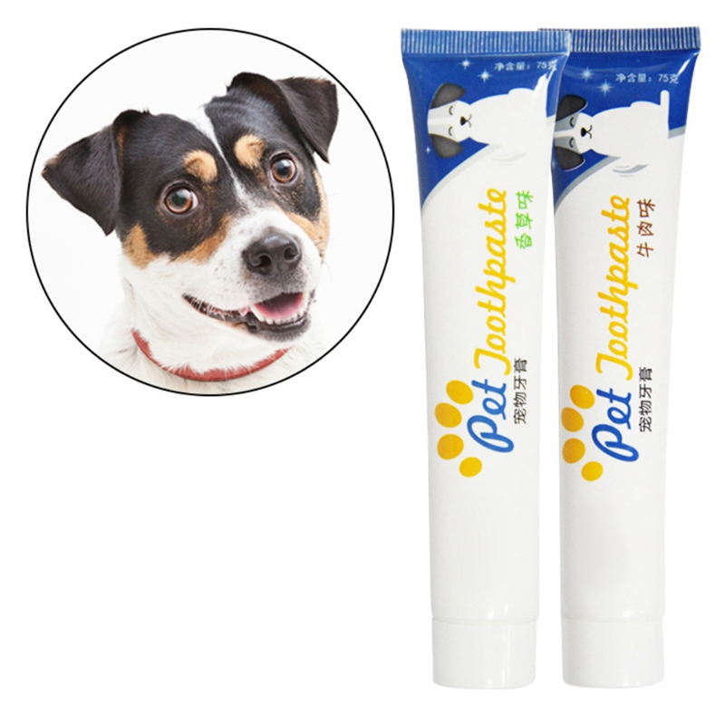 1PC Vanilla/Beef Taste Dog Teeth Cleaning Supplies Pet Healthy Edible Toothpaste Oral Care For